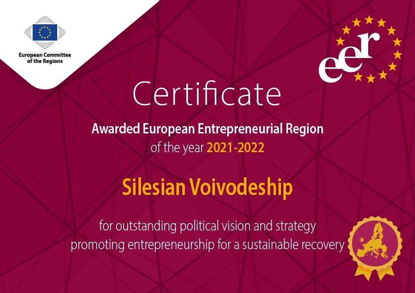 Certyfikat Europejskiego Regionu Przedsiębiorczości dla województwa śląskiego
