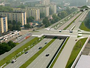 Katowice - skrzyżowanie ulic Sokolskiej z Chorzowską - wizualizacja