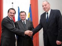 Wspólnie w Katowicach i Brukseli: (od lewej) Josef Tarčák, Michał Czarski i Evžen Tošenovský