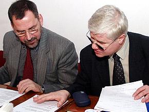 Wicemarszałek Sergiusz Karpiński i Minister Jerzy Hausner